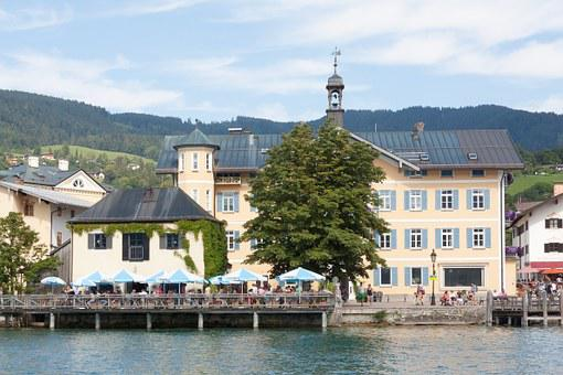 Web, Promenade, Town Hall, Tegernsee, Water, Lake, Blue