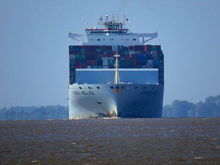 Container, Ship, Maritime, Elbe, Seafaring, View