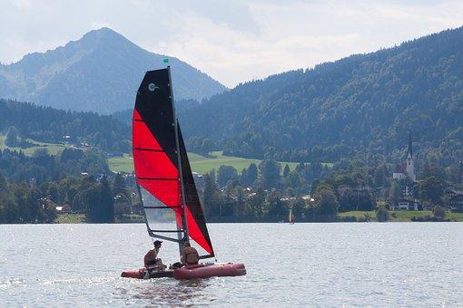 Catamaran, Ship, Boot, Sail, Red, Black, Water, Lake
