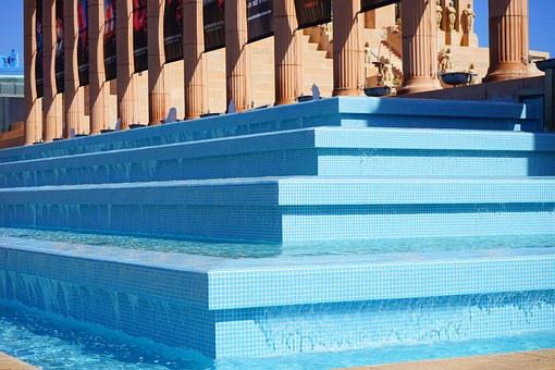 Fountain, Stairs, Gradually, Blue, Water