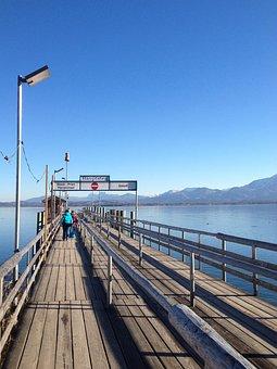 Jetty, Chiemsee, Web, Visitors, Lake, Water, Autumn