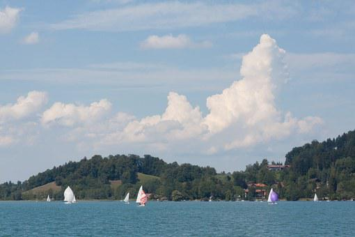 Ship, Sailing Vessel, Boat, Sail, Hill, Forest, Water