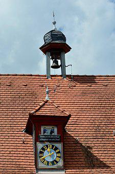 Bell Tower, Clock, Roof, Architecture, Building, Tower