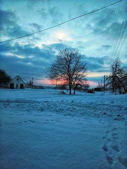 Dawn, Sun, Tree, Beautiful, Nature, Siriguy, Village