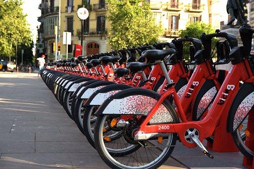 Bike Sharing, Bicycles, Barcelona, Bicing, City, Street