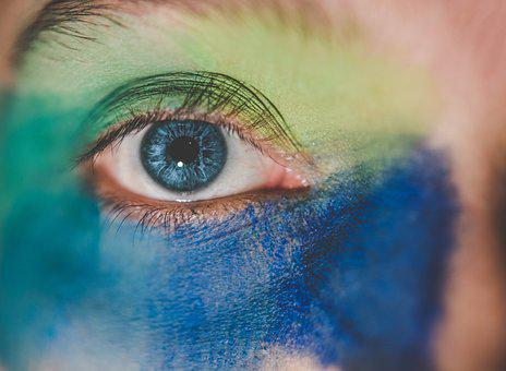 Eye, Colorful, Watercolor, Blue, Green, Artistically