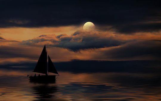 Moon, Clouds, Night, Lake, Boat, Romance, Atmosphere
