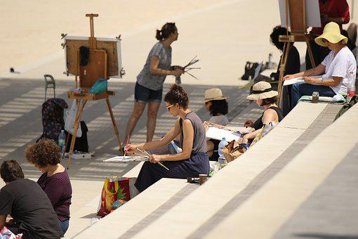 Painting Class, Women, Outdoors, Canvas, Stairs