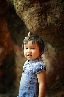 Vietnam, Girl, Child, Rocks