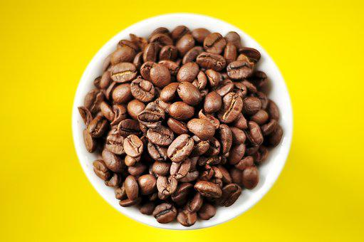 Coffee, Coffee Beans, Cup, Espresso, Yellow, Plate