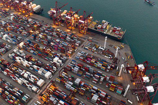 Container, Terminal, Port, Ship, Shipping, Trade