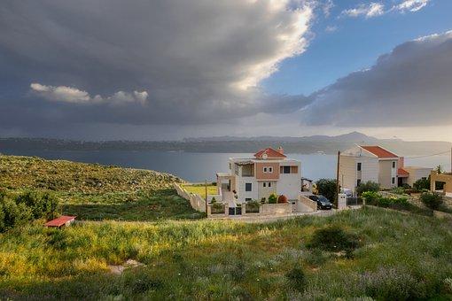 Crete, Greece, Cloud, House, Sea, Suda, Sea Bay, Nature