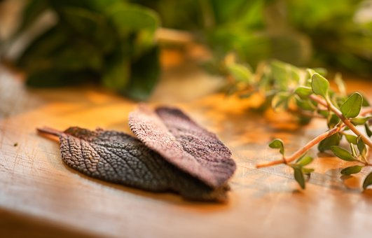 Culinary Herbs, Sage, Close-up, Cutting Board, Thyme