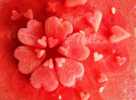 Watermelon, Juicy, Heart, Fruit, Food, Delicious, Eat