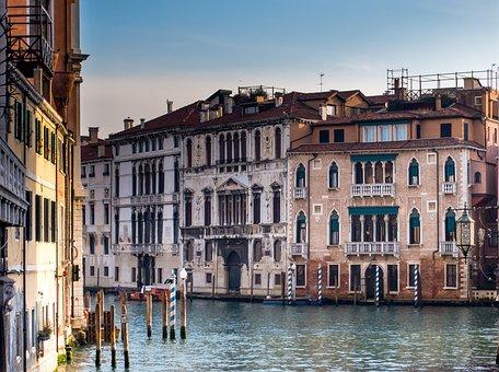 Venice, Italy, Channel, Water, Architecture, Gondola