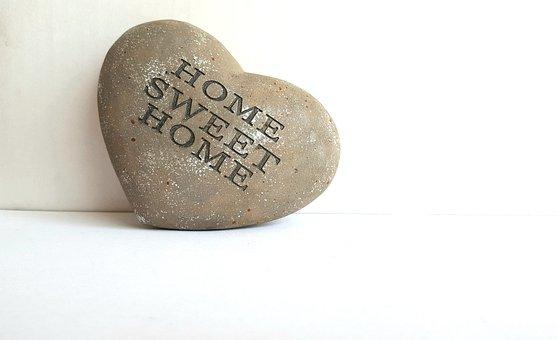 Home, Sweet, Heart, Concrete, Words, Stone, Shape