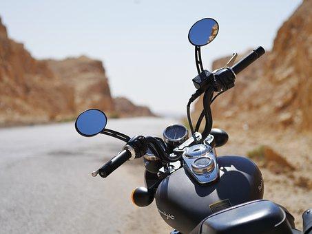 Road Trip, Desert, Biker, Motorcycle, Heat, Vehicle