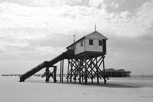 Sankt Peter Ording, Beach, Stilt Houses, North Sea