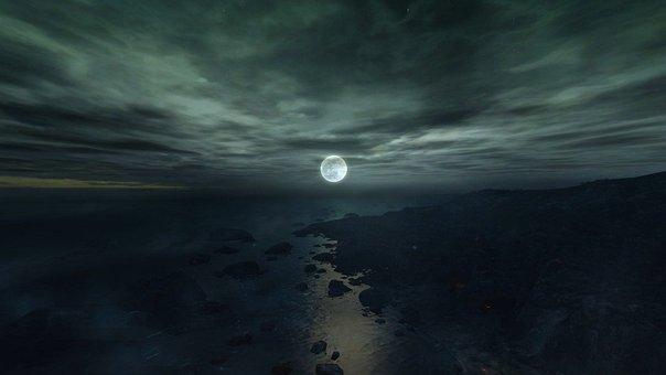 Fantasy, Mystical, Moon, Clouds, Sky, Sea, Rock