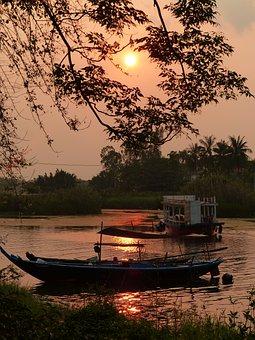 Vietnam, Sunset, Boat, Dawn, Sky, Outdoors, Scenery
