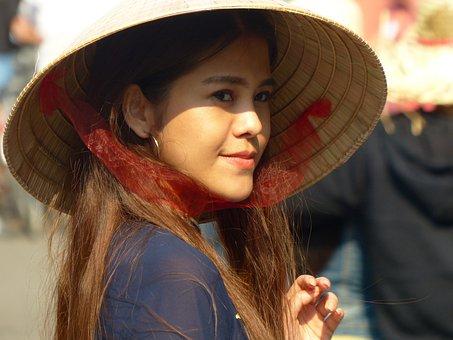 Vietnam, Hat, Tradition, Smiling, Girl, Women, Travel