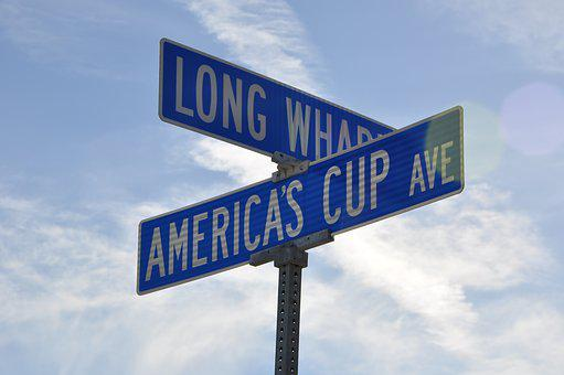 Street Sign, Americas Cup, Usa, Directory, America