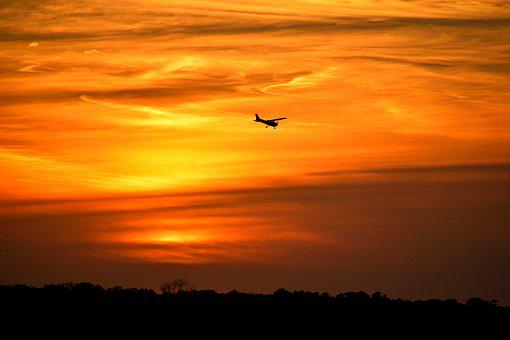 Sunset, Airplane, Background, Night, Bright Orange