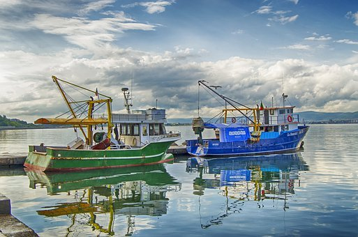 Fishing Boats, Black Sea, Boom, Marina, Reflection