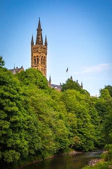 University, Glasgow, Blue Sky, Scotland, Ancient