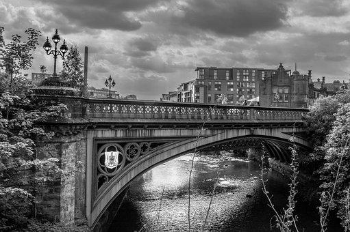 Glasgow, West End, Bridge, Steel, Bnw, Black And White