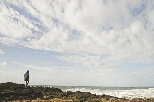 Ocean, Shore, Solitude, Wind, Sea, Coast, Sky