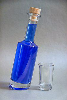 Drink, Bottle, Blue, Askew, Glass, Still Life, Cocktail