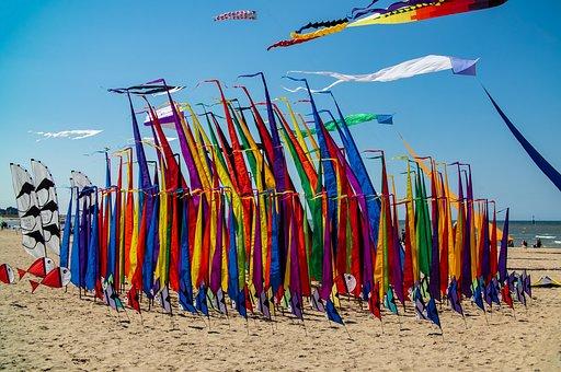 Kite, Beach, Sky, Air, Colors, Sun, Colorful, Wind