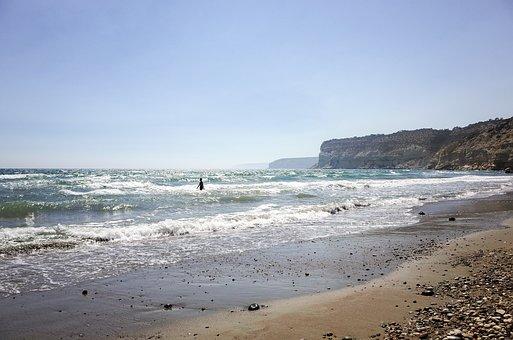 Cyprus, Seascape, Beach, Horizon, Waves, Sunlight