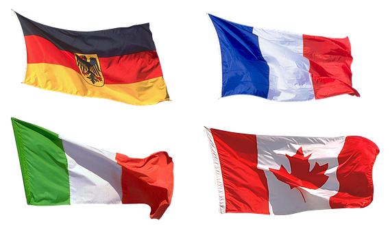 Flags, Europe, Germany, France, Italy, Canada, Country
