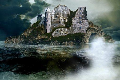 Sea, Island, Castle, Landscape, Hideout, Hideaway