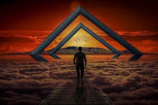 Manipulation, Frames, Clouds, Sunset, Volcano, Birds