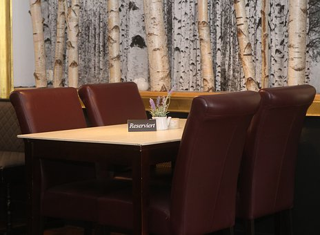 Table, Restaurant, Birch, Reserved, Chairs, Eat, Drink