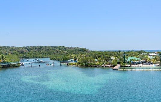 Roatan, Aerial View, Bridge, Caribbean, Water, Tropical