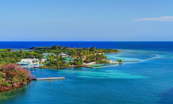 Roatan, Aerial View, Caribbean, Water, Tropical, Sea