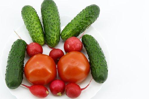 White, Background, White Plate, Red Radish, Six, Green