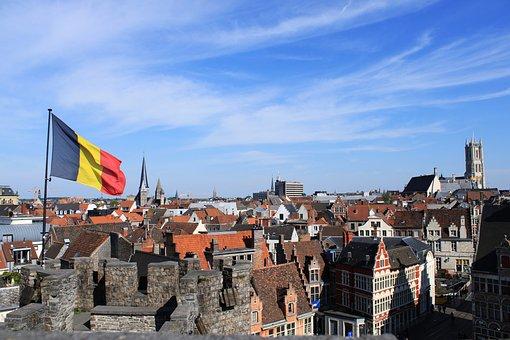 Belgium, Ghent, Gent, Sky, City, High, Flag
