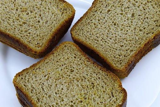 Bread, Black, Flour, Premium, Brown, On White, Plate