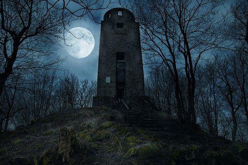 Tower, Moon, Architecture, Night, Building, Mystical
