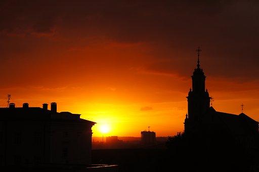 Sunset, City, Sky, Orange, Sun, Building, Horizon