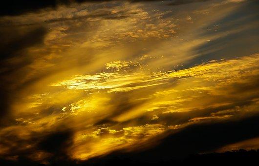 Sunset, Sky, Clouds, Gold, Grey, Cloudscape, Weather