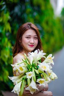 Flower, People, Female, Girl, Smile Girl
