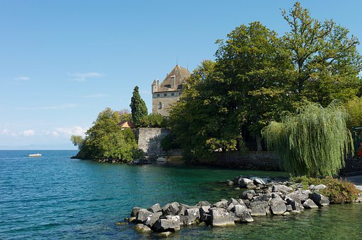 Lake, Castle, Architecture, Water, Landscape, Historic