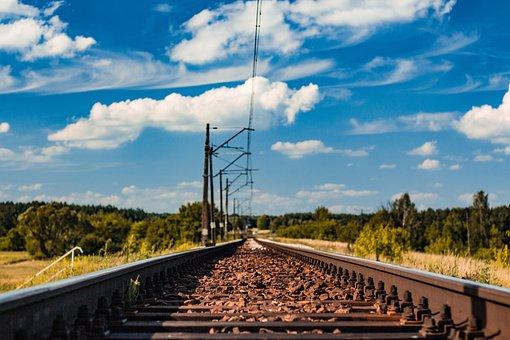 Tracks, Train, Lines, Sky Landscape, Holidays, Railway
