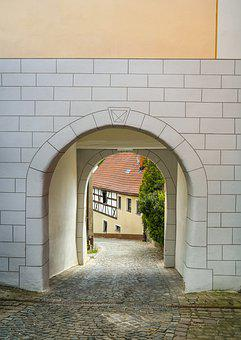 City Gate, Passage, Archway, Medieval, Historically